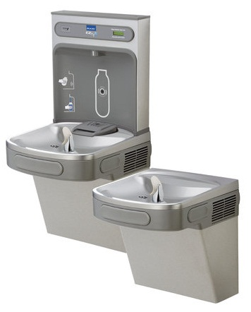 Elkay EZSTL8WSLK EZH2O Bi-Level Water Drinking Fountain and Bottle Filling Station with Cane Apron
