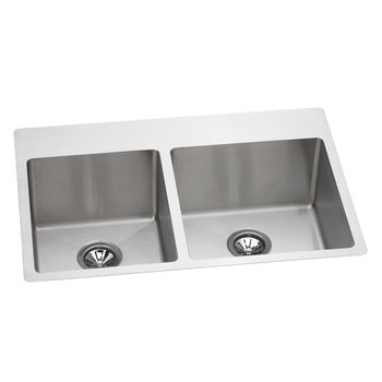 Elkay EFRTUO332210L3 Avado Double Bowl Slim Rim Universal Mount Kitchen Sink - Stainless Steel