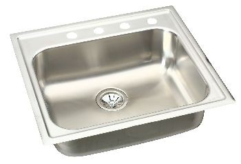 Elkay EG2522-0 Gourmet (Elumina) Single Bowl Kitchen Sink - Stainless Steel (Pictured with 4 Holes)