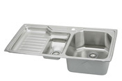 Elkay EGPI4322R-4 Gourmet Sinks Self-Rim Double Bowl-Single Ribbed Area Kitchen Sink Stainless Steel - 4 Holes