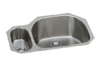 Elkay EGUH322110L Harmony Deep Double Bowl Kitchen Sink - Stainless Steel (Small Bowl on Left)