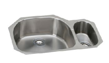 Elkay EGUH322110R Harmony Deep Double Bowl Kitchen Sink - Stainless Steel (Small Bowl on Right)