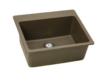 Elkay ELG2522WH Gourmet Top Mount Single Bowl Kitchen Sink - White (Pictured in Mocha)