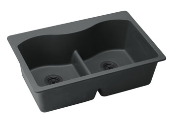 Elkay ELGLB3322GY0 Harmony E-Granite Double Bowl Top Mount Kitchen Sink - Dusk Gray (Pictured in Black)