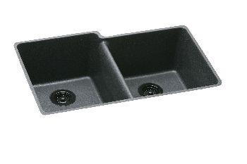Elkay ELGU250RBQ Gourmet Undermount Double Bowl Kitchen Sink - Bisque (Pictured in Black)