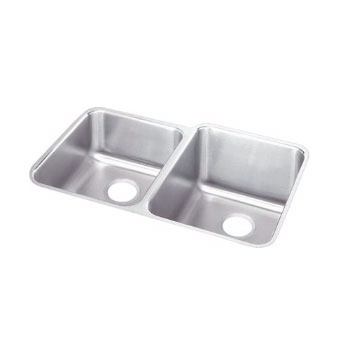 Elkay ELUH3120-L Gourmet Lustertone Undermount Double Bowl Kitchen Sink Stainless Steel