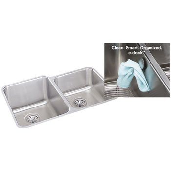 ELUH3120REK Elkay Gourmet e-dock Undermount Double Bowl Kitchen Sink - Stainless Steel