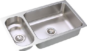 Elkay ELUH3219 Gourmet Double Bowl Kitchen Sink - Stainless Steel (Reversible Design)