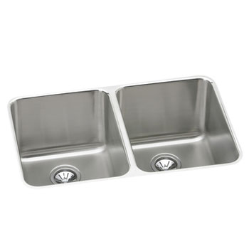 Elkay ELUH322010 Gourmet Undermount Double Bowl Kitchen Sink - Stainless Steel