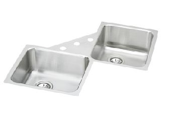 Elkay ELUH3232 Avado Double Bowl Corner Kitchen Sink - Stainless Steel