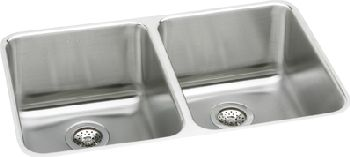 Elkay ELUH361710 Gourmet Deep Double Bowl Kitchen Sink - Stainless ...