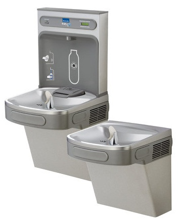 Elkay LZSTL8WSLK EZH2O Bi-Level Drinking Fountain with Water Bottle Filling Station - Stainless Steel