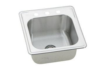Elkay ESE202010-1 Gourmet Elite Single Bowl Drop In Stainless Steel Bar Sink - 1 Hole (Pictured w/3 Holes)