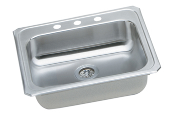 Elkay GECR2521L-3 Gourmet (Celebrity) Self-Rim Single Bowl Kitchen Sink Stainless Steel - 3 Holes