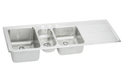 Elkay ILGR6022L-4 Harmony Self-Rim Triple Bowl-Single Ribbed Area Kitchen Sink Stainless Steel - 4 Holes (Pictured w/3 Holes)