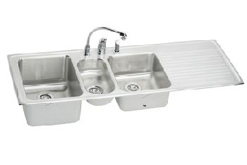 Elkay ILGR6022LC Harmony Self-Rim Triple Bowl-Single Ribbed Area Kitchen Sink - Stainless Steel