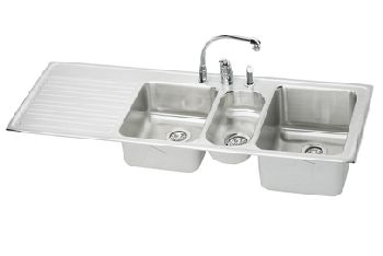 Elkay ILGR6022R Harmony Self-Rim Triple Bowl-Single Ribbed Area Kitchen Sink Stainless Steel (Pictured w/Faucet - Not Included)