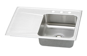 Elkay ILR3322R-3 Gourmet (Lustertone) Self-Rim Single Bowl Single Drainboard Kitchen Sink Stainless Steel - 3 Holes