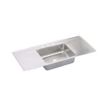 Elkay ILR5422DD-3 Gourmet (Lustertone) Self-Rim Single Bowl Double Drainboard Kitchen Sink Stainless Steel - 3 Holes