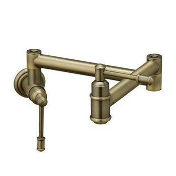 Elkay LK4101NK Oldare Wall Mount Pot Filler - Brushed Nickel (Pictured in Antinque Brass)
