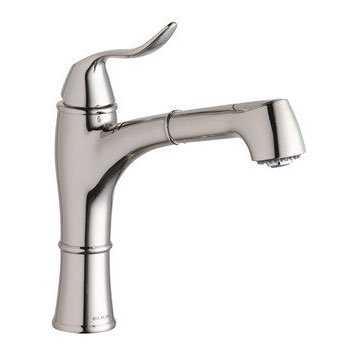 Elkay LKEC1041PN Explore Single Handle Kitchen Faucet with Pull Out Spray - Polished Nickel