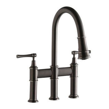 Elkay LKEC2037LS Explore Pull-Down Kitchen Bridge Faucet - Lustrous Steel (Pictured in Antique Steel)
