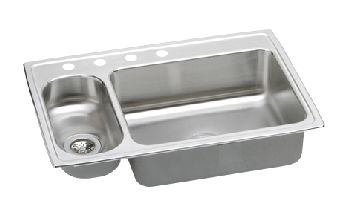 Elkay LMR3322-4 Gourmet (Lustertone) Double Bowl Kitchen Sink - Stainless Steel (Small Bowl on the Left)