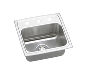 Elkay LR1716-1 Gourmet (Lustertone) Self-Rim Single Bowl Kitchen Sink Stainless Steel - Single Hole (Pictured w/3 Holes)