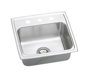 Elkay LR1918-3 Gourmet (Lustertone) Self-Rim Single Bowl Kitchen Sink Stainless Steel - 3 Holes