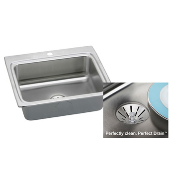 Elkay LR2522PD1 Gourmet 1 Hole Single Bowl Kitchen Sink with Perfect Drain - Stainless Steel
