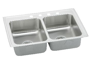 Elkay Lr3319 Gourmet Lustertone Double Bowl Bar Sink