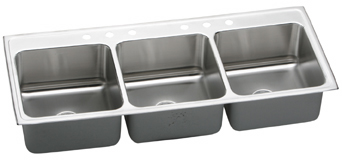 Elkay LTR632210 Gourmet Deep Triple Bowl Kitchen Sink - Stainless Steel