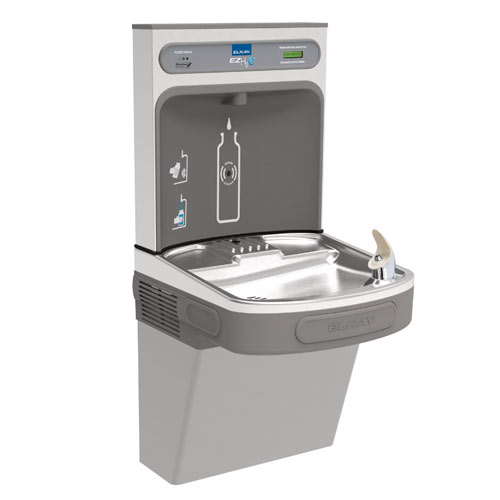 Elkay LZS8WSLK EZH2O Wall Mount Drinking Fountain with Bottle Filler Station - Light Gray
