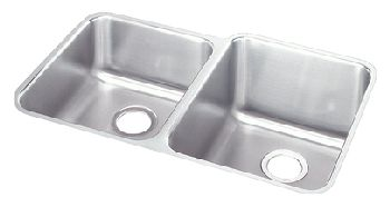Elkay PLAUH3120L Pursuit Double Bowl Kitchen Sink - Stainless Steel (Small Bowl on Left)