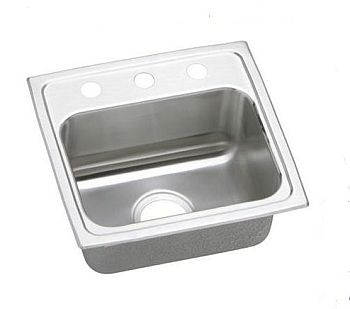 Elkay DLR1716103 Gourmet (Lustertone) Stainless Steel Single Bowl Top Mount Sink - 3 Hole