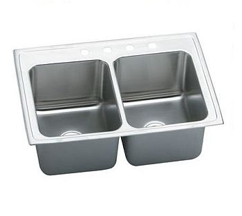 Elkay DLR3322124 Gourmet (Lustertone) Stainless Steel Double Bowl Top Mount Sink - 4 Holes