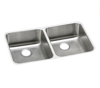 Elkay ELUHAD311855 Gourmet (Lusterone) Double Bowl Undermount Sink - Stainless Steel