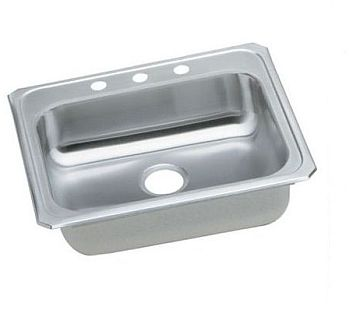 Elkay GECR25214 Gourmet (Celebrity) Stainless Steel Single Bowl Top Mount Sink - 4 Holes