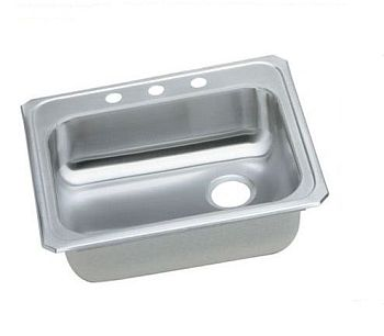 Elkay GECR2521R-3 Gourmet (Celebrity) Stainless Steel Single Bowl Top Mount Sink  - 3 Holes