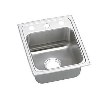 Elkay LRAD1517553 Gourmet (Lustertone) Stainless Steel Single Bowl Top Mount Sink - 3 Hole