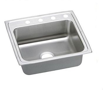 Elkay LRAD2219653 Gourmet (Lustertone) Stainless Steel Single Bowl Top Mount Sink - 3 Holes