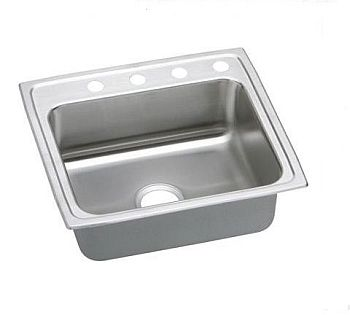 Elkay LRAD2222653 Gourmet (Lustertone) Stainless Steel Single Bowl Top Mount Sink - 3 Holes
