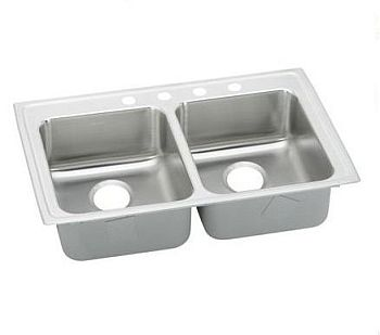 Elkay LRAD3319554 Gourmet (Lustertone) Stainless Steel Double Bowl Top Mount Sink - 4 Holes