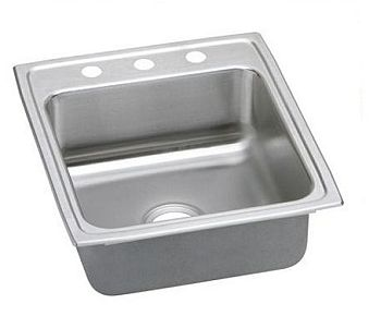 Elkay LRADQ2022603 Gourmet (Lusterone) Stainless Steel Single Bowl Top Mount Quick-Clip Sink - 3 Holes