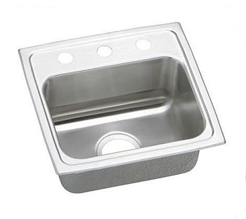 Elkay PSR17163 Gourmet (Pacemaker) Stainless Steel Single Bowl Top Mount Sink - 3 Holes