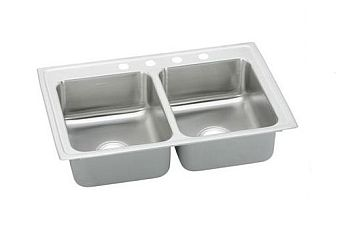 Elkay PSR43223 Gourmet (Pacemaker) Stainless Steel Double Bowl Top Mount Sink - 3 Holes