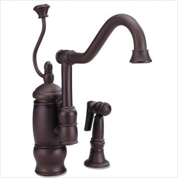 Belle Foret GKF02FWSTB Kitchen Faucet Body with Pump Handle and Attached Side Spray - Tumbled Bronze