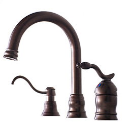 Pegasus F87J4204BNV Baron Single Handle Widespread Lavatory Faucet with Soap Dispenser - Brushed Nickel (Pictured in Oil Rubbed Bronze)