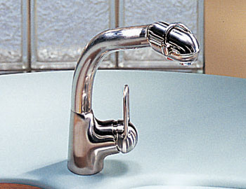 Franke FF-780 Arc Pull Out Kitchen Faucet with Dual Aerators - Satin Nickel (Pictured in Chrome)