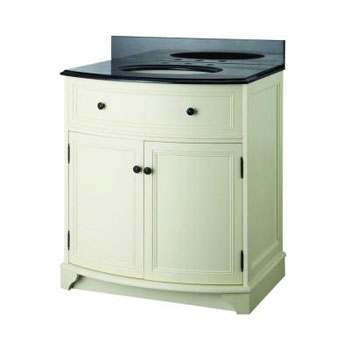 Foremost  ARAAT3134 Arcadia 31-1/4 in. Vanity in Vanilla Cream with Vanity Top in Black Granite and Sink - Biscuit
